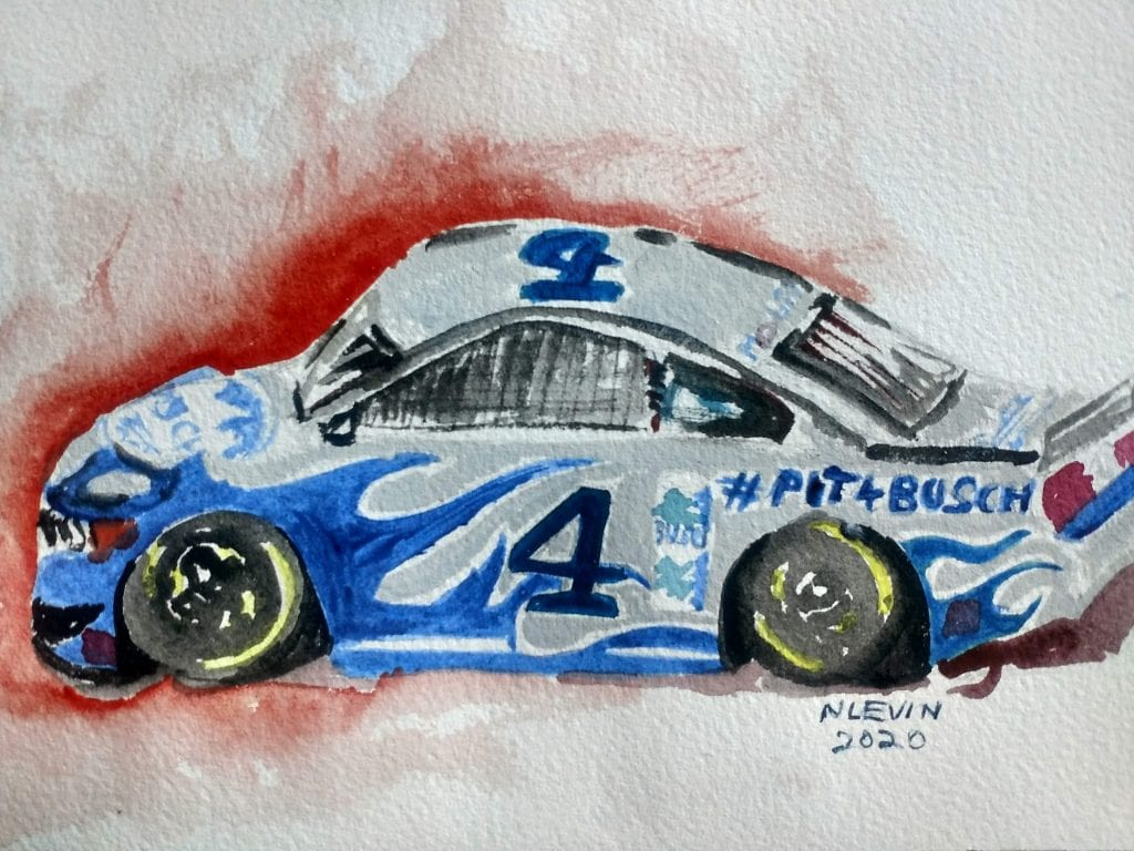 Watercolor of race car that's demonstrating what makes a creative marketing strategy work